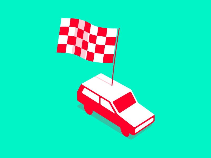The Way Is The Goal isometric illustration red aim flag goal green car