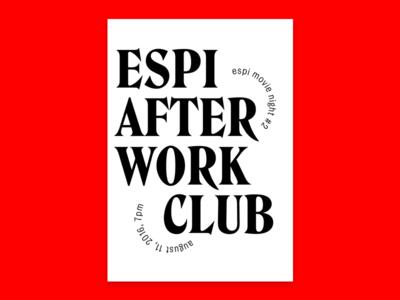 Espi After Work Club warp movienight allcaps flyer poster red edenspiekermann