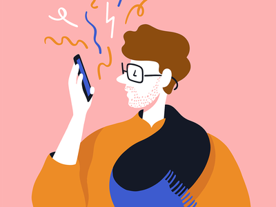 Eustace Tilly, Voicemessaging the new yorker millennial pink orange vector illustration