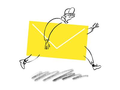 Postman running postal service envelope yellow sketch doodle drawing postman