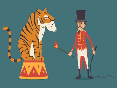 Micro circus tiger tamer