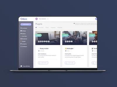 Odus.ai: UX/UI design for the control panel
