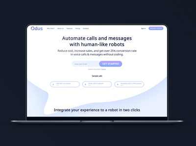 Landing page for the AI startup