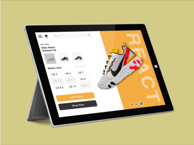 Nike React Surface Pro 3 - Shopping experience