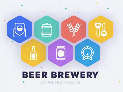 Beer Brewery | 32 Icons Set icons set icon design icons icon set icon craft manufacturing illustration mug malt bar symbol ale sign drink glass alcohol brewery beer