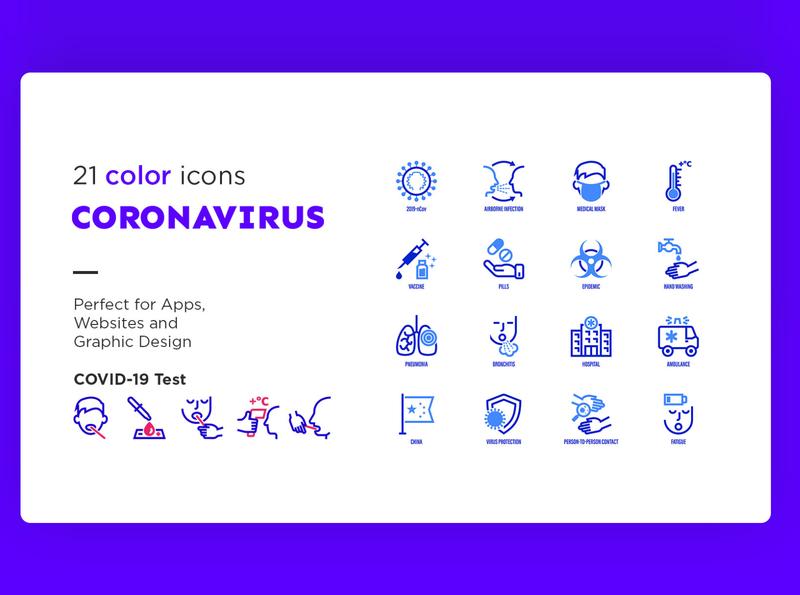 Coronavirus COVID-19 | 42 Icons Set icons icon set icon design icon test disease illness quarantine caution contact fever surgical mask medical airborne infection 2019-ncov covid-19 virus coronavirus