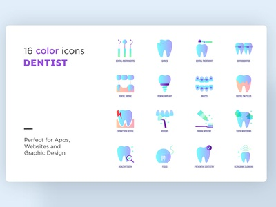 Dentist | 16 Icons Set Hand Drawn tooth teeth orthodontics treatment magnifier caries equipment instruments dental dentist logo icons pack sign icons set iconset icons design icon set icons icon design icon