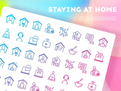 Staying At Home | 32 Icons Set line set spread infection covid-19 virus coronavirus precaution solidarity stay at home logo icons pack sign icons set iconset icons design icon set icons icon design icon