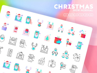 Christmas New Normal | 32 Icons Set Hand Drawn video call happy holiday merry new celebration stream online internet christmas santa claus logo sign icons set iconset icons design icon set icons icon design icon