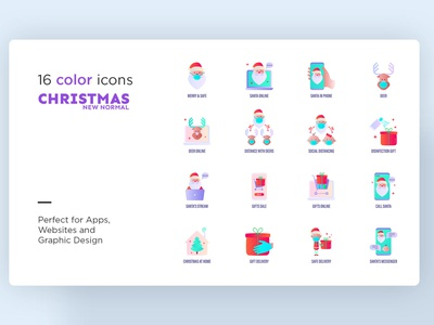 Christmas New Normal | 32 Icons Set Hand Drawn winter video call happy holiday merry new celebration stream online internet christmas santa claus logo sign icons set icons design icon set icons icon design icon