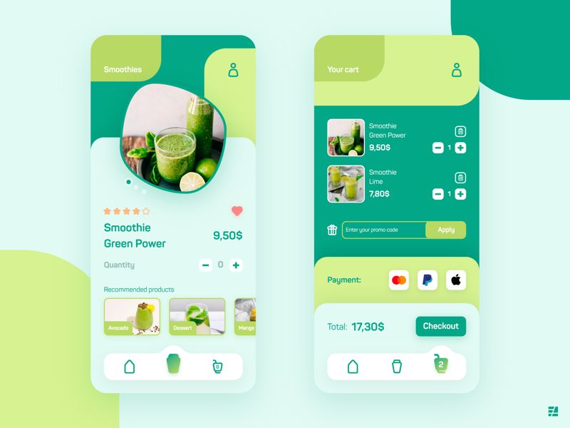 UI Design - Smoothie Shop App FREEBIE shop mobile app graphic design product design interface app design ui ux ui design
