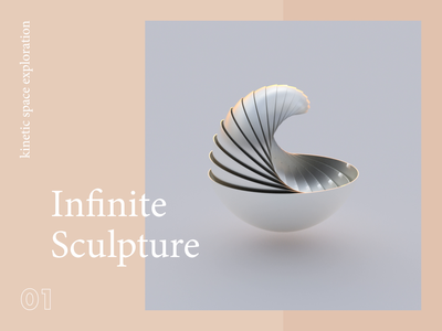 Infinite Sculpture poster design sculpture 3d art space wave loop abstract kinetic motion animation