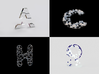 36 Days Of Type 2021 - Part 1 digital art abstract letterform 3d art c4d motion type kinetic typography animation 36daysoftype08 36daysoftype