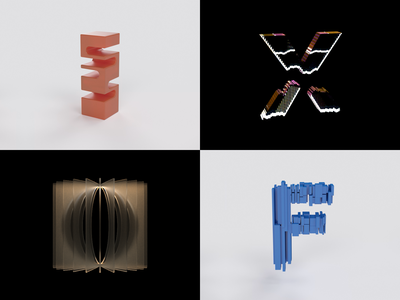 36 Days Of Type 2021 - Part 2 geometric letterform 3d art c4d design type typography motion kinetic animation