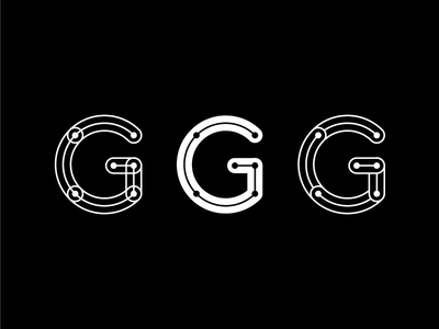 G G G black and white typography type letterforms geometric strings lettering vector outline inline