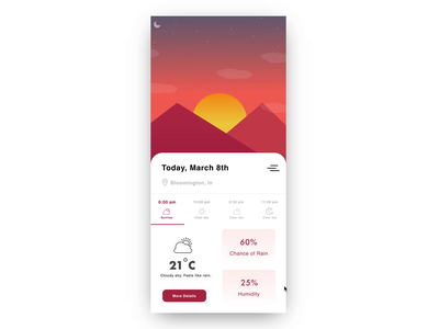 Weather App cloudy mountains sunny weather cards weather forecast moon sunset sunrise sun animation application ux app mobile design user experience ui weather app weather