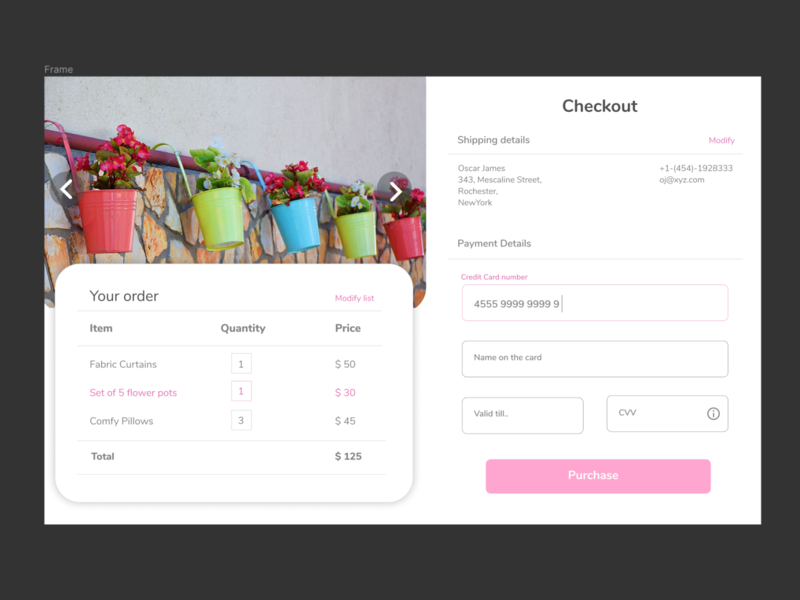 Daily UI #002 - Credit Card Checkout pink ux ui dailyui002 daily ui credit card checkout