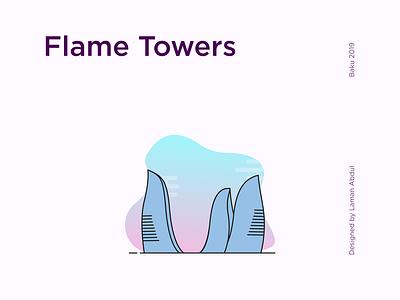 Baku City Landmarks font tower flame logo landmarks icon city lineart baku design vector illustration