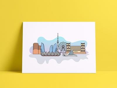 Baku City Landmarks landmarks icon city baku design vector illustration