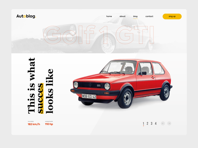 VW MK1 GTI tribute website page website concept design icon ux ui car concept website web