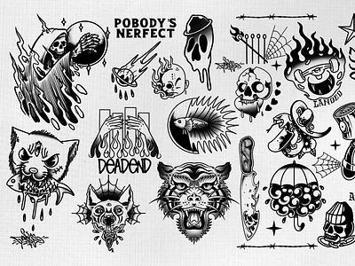 tattoo flash pobody's nerfect procreate tshirt tshirtdesign skull flash tattoo tattoo design flat typography icon illustration