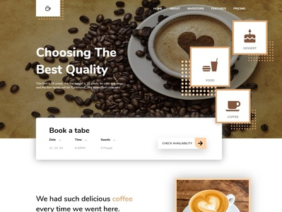 Landing page for a coffee shop