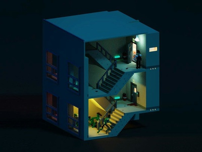 Zombie Night Side A voxel isometric illustration orthographic lowpoly