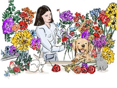 Customized illustration floral art botanical illustration flower bright color design illustrator sketch illustration digital art