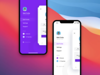 Side Menu iphonex app ios minimal photo dark ui feed view grid