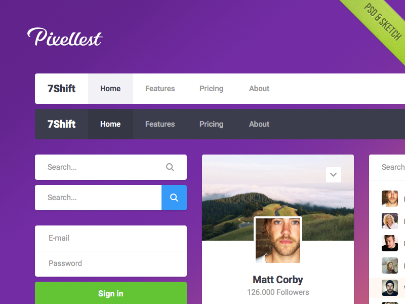 Pearl UI Kit Freebie [Sketch & PSD] navigation freebie login kit free widget psd interface simple ui flat clean