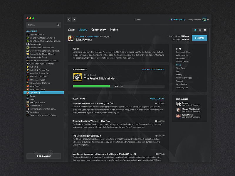 Redesign Concept for Steam by Huseyin Emanet on Dribbble
