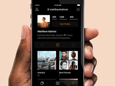 User Profile grid view feed dark ui photo minimal ios app