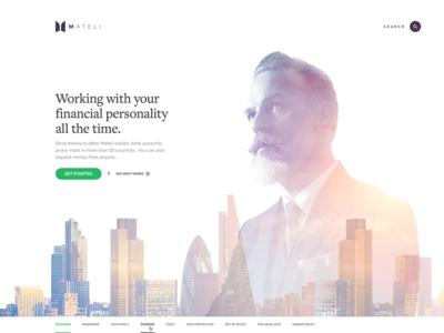 Mateli concept button typography finance banking photo landing logo bank