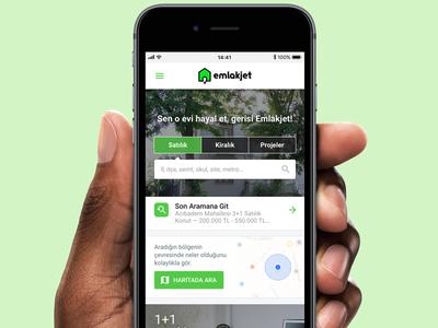 Emlakjet Mobile Web turkish emlakjet realtor real estate homepage photo minimal android ios icons