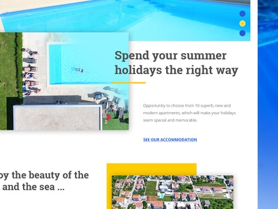 Frontpage web design graphic layout grid website apartments pool