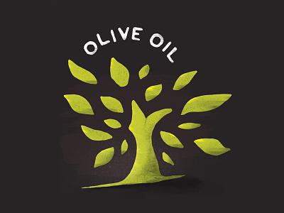Oil label tree grain brushes illustration olive graphic design
