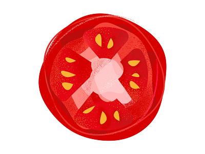 Vinny's Tomato red graphic stipple raster vector design tomato sticker mule sticker