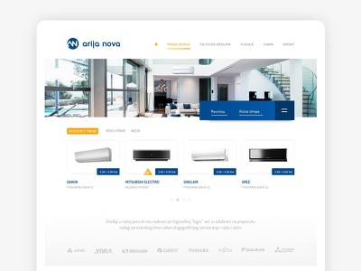 Arija Nova homepage shop online air condition air graphic web design web
