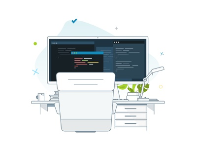 Backend desk workplace desk office illustrator line icon graphic web illustration