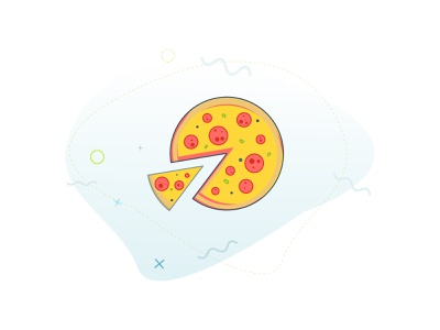 Lunch break sketch design graphic conffeti food vector illustration pizza