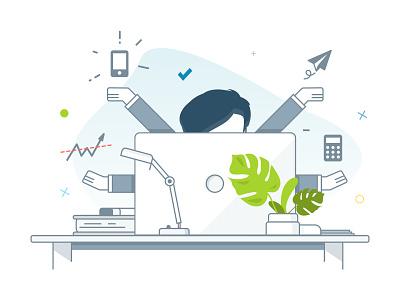 Salesman computer desk line workplace icon sales graphic design illustrator