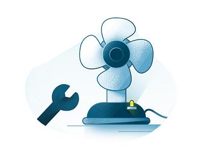 Fan mechanic ac blue mechanic fan grain vector illustration stippling stipple