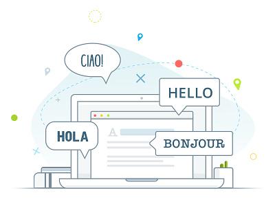 Multi language support macbook laptop desk graphic line illustrator illustration language vector design