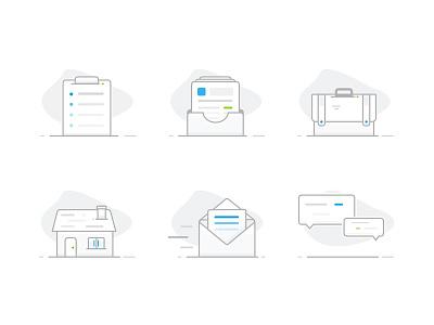 App icons gray blue design graphic line illustrator illustration icons