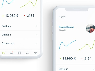 Profile screen settings profile android ios iphone graphic design mobile app
