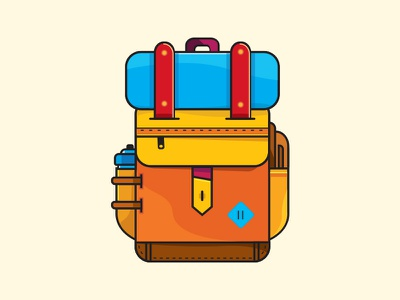 Backpack color icon mountains outdoor hiking vector backpack illustration color