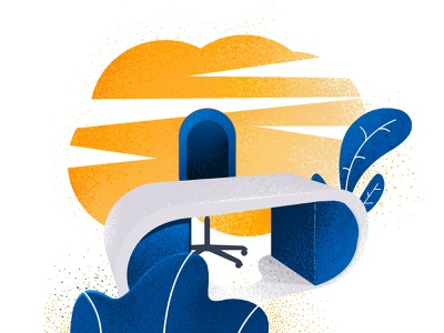 Job application illustrations desk sun chair web app layout branding vector illustration graphic design illustrator