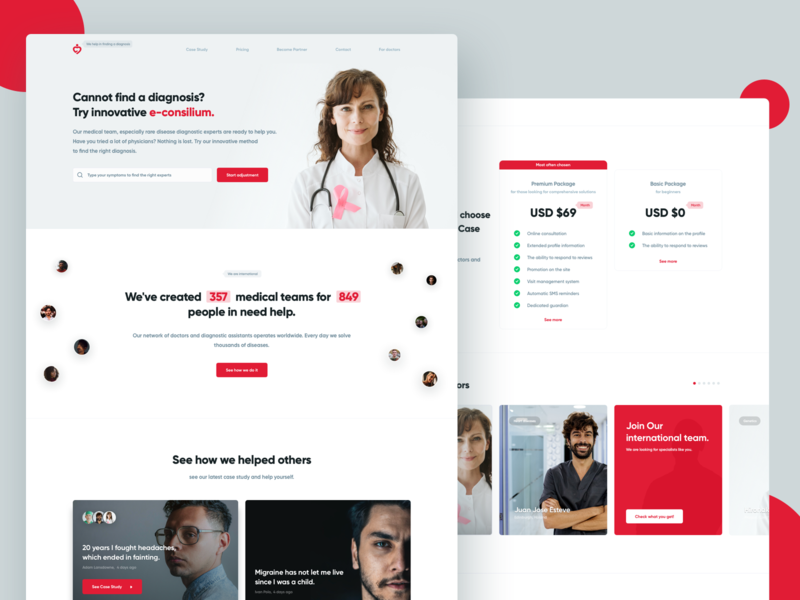 Diagnosticc e-consilium platform | Medtech application clinic page product pricing website medicine saas design system patient healthcare health medtech ux medical design ui app movade dashboard application