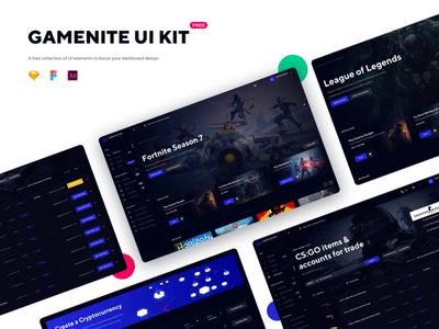 Gamenite Ui Kit Free Resource ui uikit ui ux design ui animation free free app resource gaming gaming app dashbaord free ui kit app ux ui design ux desktop web dark dark ui application fintech