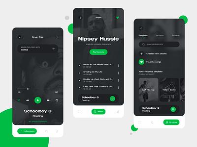 Spotify Mobile Concept App UI ios green mobile app movade player music music app spotify dark app dailyui ui design ui  ux minimal design mobile dashboard dark ui clean application app